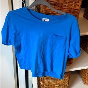 Blue H&M cropped shirt